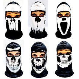 24 Bulk Black & White Skulls Ninja Face Mask