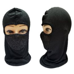 36 Bulk Black Only Ninja Face Mask with Mesh Front