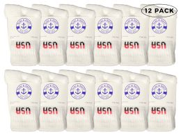 12 Bulk Yacht & Smith Kids Cotton Crew Socks White Usa Size 6-8