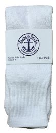 6 Bulk Yacht & Smith Kids Solid Tube Socks Size 6-8 White