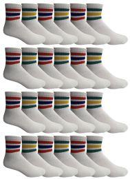24 Bulk Yacht & Smith Men's King Size Cotton Sport Ankle Socks Size 13-16 With Stripes