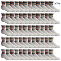 120 Bulk Yacht & Smith Men's King Size Cotton Sport Ankle Socks Size 13-16 With Stripes