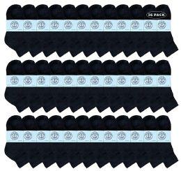 36 Bulk Yacht & Smith Kids Cotton Quarter Ankle Socks In Black Size 6-8