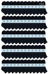 72 Bulk Yacht & Smith Kids Cotton Quarter Ankle Socks In Black Size 6-8