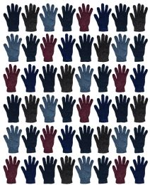 48 Bulk Yacht & Smith Men's Winter Gloves, Magic Stretch Gloves In Assorted Solid Colors