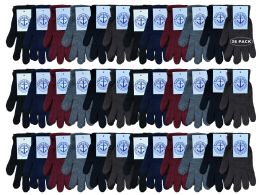 36 Bulk Yacht & Smith Men's Winter Gloves, Magic Stretch Gloves In Assorted Solid Colors