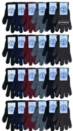 24 Bulk Yacht & Smith Men's Winter Gloves, Magic Stretch Gloves In Assorted Solid Colors