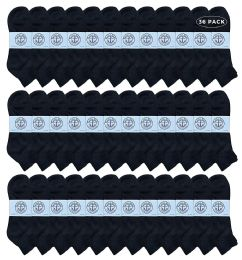 36 Bulk Yacht & Smith Men's King Size Cotton Terry Cushion Sport Ankle Socks Size 13-16 Black