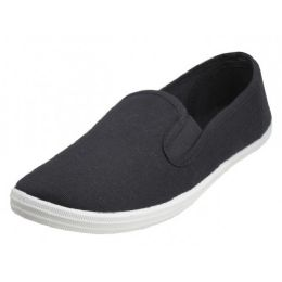 24 Bulk Children's Slip On Twin Gore Canvas Shoes *black Upper With White Sole ( *black Color )