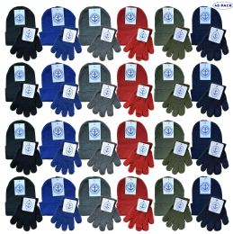48 Bulk Yacht & Smith Wholesale Kids Beanie And Glove Sets (beanie Glove Set, 48)