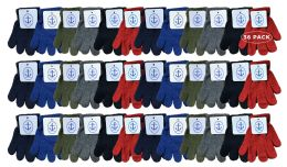 36 Bulk Yacht & Smith Kids Warm Winter Colorful Magic Stretch Gloves Ages 2-5