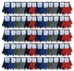72 Bulk Yacht & Smith Kids Warm Winter Colorful Magic Stretch Gloves Ages 2-5