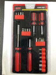 24 Bulk 22 Piece Multi Tool Screw Driver And Ratchet Set