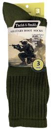 36 Bulk Yacht & Smith Men's Army Socks, Military Grade Socks Size 10-13 Solid Army Green