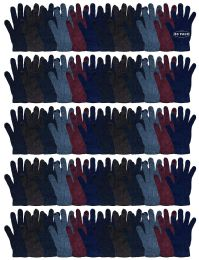 60 Bulk Yacht & Smith Men's Winter Gloves, Magic Stretch Gloves In Assorted Solid Colors