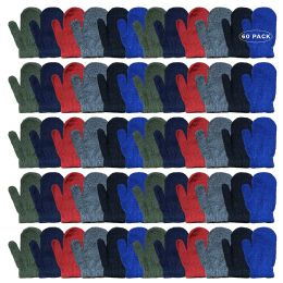 60 Bulk Yacht & Smith Kids Warm Winter Colorful Magic Stretch Mittens Age 2-8