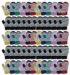 60 Bulk Yacht & Smith Kids Striped Mitten With Stretch Cuff Ages 2-8