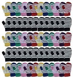 120 Bulk Yacht & Smith Kids Striped Mitten With Stretch Cuff Ages 2-8