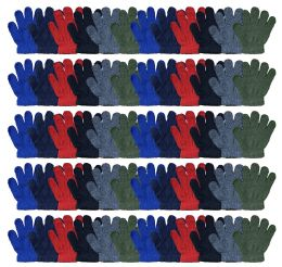 60 Bulk Yacht & Smith Kids Warm Winter Colorful Magic Stretch Gloves Ages 2-5