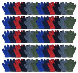 120 Bulk Yacht & Smith Kids Warm Winter Colorful Magic Stretch Gloves Ages 2-5