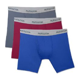72 Bulk Fruit Of The Loom Boys Underwear, Boxer Brief Assorted Colors Size L