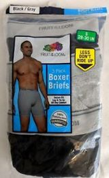 24 Bulk Men's Fruit Of The Loom 3 Pack Boxer Brief (mid Rise), Size 2xl