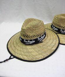24 Bulk Men's Straw Hat With Black Trim
