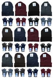 24 Bulk Yacht & Smith Mens Warm Winter Hats And Glove Set Solid Assorted Colors 24 Pieces