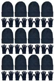 24 Bulk Yacht & Smith Unisex Warm Winter Hats And Glove Set Solid Black 24 Piece