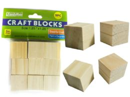 96 Bulk 9 Piece Wood Craft Blocks