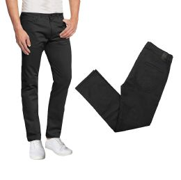 36 Bulk Men's 5-Pocket UltrA-Stretch Skinny Fit Chino Pants Black