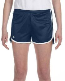36 Bulk Women's Russell Athletic Active Shorts In Navy And White,size Small