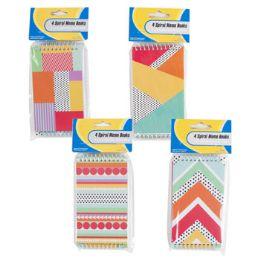 72 Bulk 4 Pack Geometric Pattern Memo Books