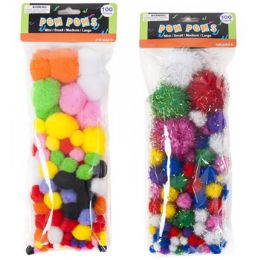 72 Bulk Craft PoM-Poms Color & Glitter 2ast 3 Size Poms Per 100pc pk