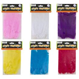 96 Bulk 3gm Craft Feathers Bag In 6 Assorted Colors