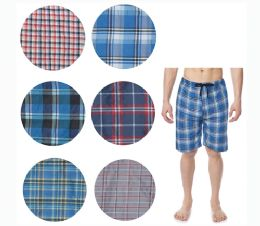 36 Bulk Men's Short Cotton Pj Pants With Packets And Strings