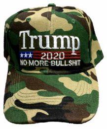 24 Bulk Adjustable Baseball Hat Trump 2020 No More Bullshit