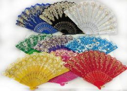 96 Bulk Colorful Fans Assorted Flower Prints With Gold Accents