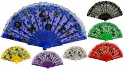 96 Bulk Colorful Fans Flower With Butterfly Print Lace Assorted