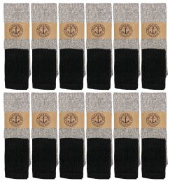 12 Bulk Yacht & Smith Mens Cotton Thermal Tube Socks, Thick And Cold Resistant 9-15 Boot Socks