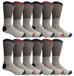 12 Bulk Yacht & Smith Mens Thermal Socks, Warm Cotton, Sock Size 10-13