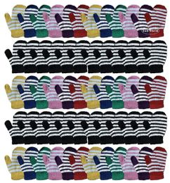 240 Bulk Yacht & Smith Kids Striped Mitten With Stretch Cuff Ages 2-8