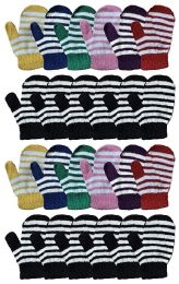 24 Bulk Yacht & Smith Kids Striped Mitten With Stretch Cuff Ages 2-8