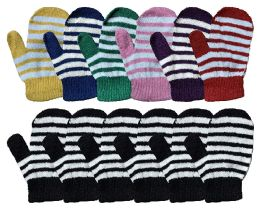 12 Bulk Yacht & Smith Kids Striped Mitten With Stretch Cuff Ages 2-8