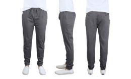 24 Bulk Men's Cotton Stretch Twill Joggers In Dark Grey Size Large