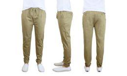 24 Bulk Men's Cotton Stretch Twill Joggers In Khaki
