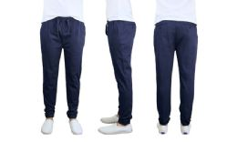 24 Bulk Men's Cotton Stretch Twill Joggers In Navy