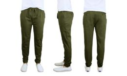 24 Bulk Men's Cotton Stretch Twill Joggers In Olive