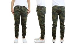24 Bulk Men's Cotton Stretch Twill Joggers In Woodland Camo
