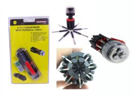 24 Bulk 8 In1 Screwdriver With Powerful Torch